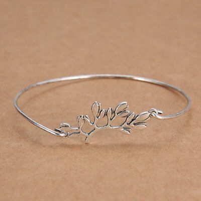 Fashion NEWInfinity Silver Bangle Bracelet Minimalis Tree Charm Jewelry Gift New