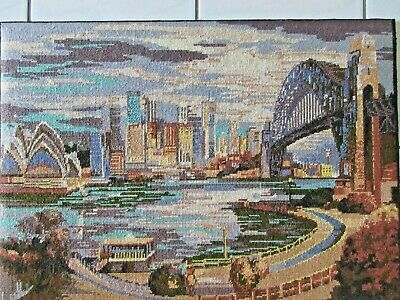 Craft Tapestry Completed & Framed Sydney Harbour Bridge & Opera House