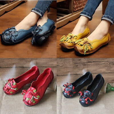 SOCOFY Women Handmade Cowhide Flower Pull On Shoes Loafers Ethnic Style Soft