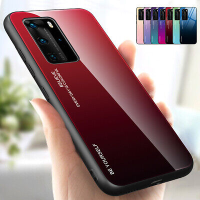 For Huawei Mate 20 10 Lite P20 Pro Gradient Tempered GLASS Back Slim Case Cover