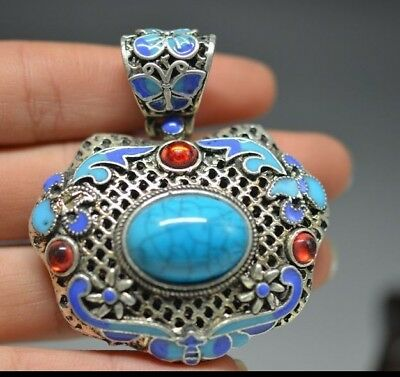 Exquisite Chinese hand-carved Cloisonne Blue Lapis  Pendant  c08