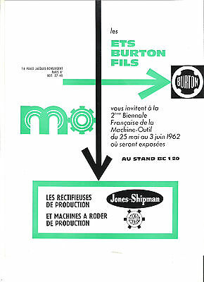 BURTON 75 PARIS JONES SHIPMAN MICROMATIC - 1962 / catalogue brochure dépliant