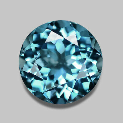 1.58Cts Calibrated 7Mm Round Cut Natural Brazilian Teal Blue Topaz