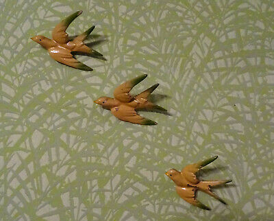 Set of 3 1940s Metal Enamelled Wall Hanging Flying Birds Swallows / Swifts