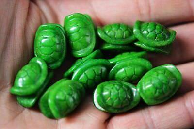 10 Pcs Chinese Old Green Jade Carved Turtle Shell Beads