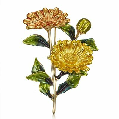 Fashion Charm Crystal Daisy Plant Brooch Pin Men Women Costume Jewelry Gifts Hot