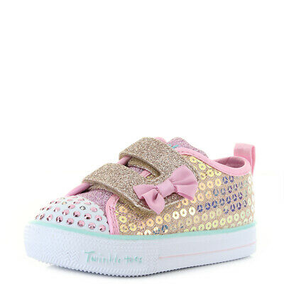 Girls Kids Skechers S Lights Shuffle Lite Mini Mermaid Gold Trainers Size