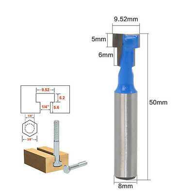 8mm Shank T Slot Router Bit T- Track Woodwork Milling Cutter Carbide Alloy Tools