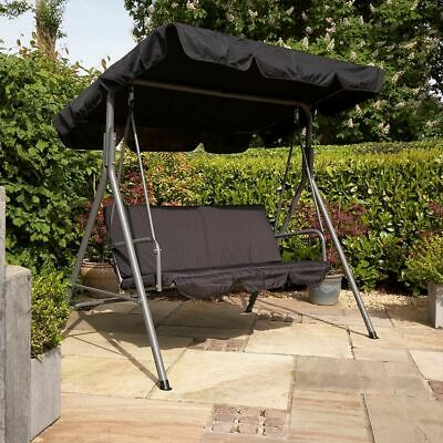 Wido 2 SEAT BLACK OUTDOOR GARDEN PATIO SWINGING CHAIR HAMMOCK SWING BENCH CANOPY