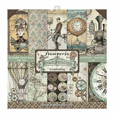 "NEW Stamperia 2019 12"" x 12"" Paper Pad Voyages Fantastiques"