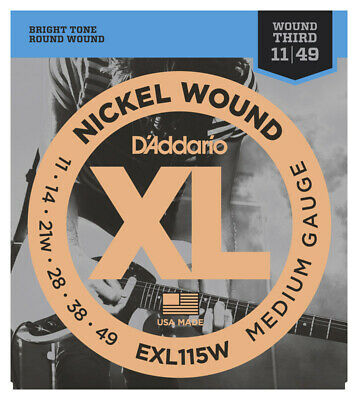 D'Addario EXL115W 11-49 Guitar Strings with wound 3rd