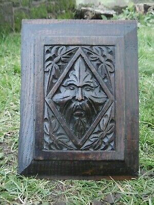 SUPERB 19thc GOTHIC OAK CARVED PANEL OF THE GREEN MAN