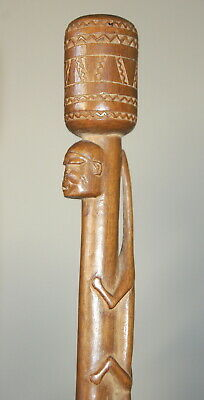 GREAT MAKONDE TANZANIAN CARVED WOODEN STICK STAFF w/ HEAD & SNAKE AFRICAN TRIBAL