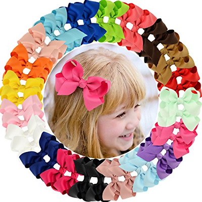 """40pcs Baby Girls Clips 2.5"""" Grosgrain Boutique Solid Color Ribbon Hair Bows for"""