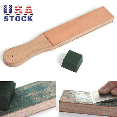 Dual Sided Leather Blade Strop Knife Razor Sharpener + 1pc Polishing Compounds