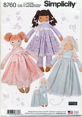"Simplicity Sewing Pattern 8760 25""/63.5Cm Rag, Cloth, Stuffed Dolls & Clothes"