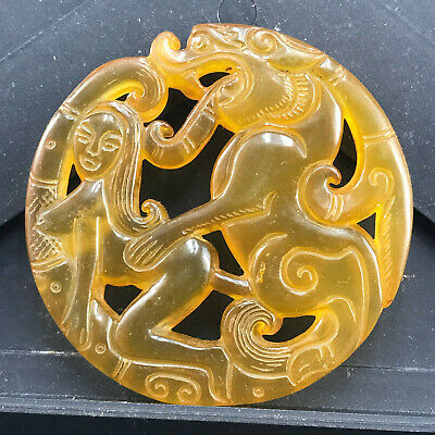 Chinese old natural jade hand-carved statue pendant      173