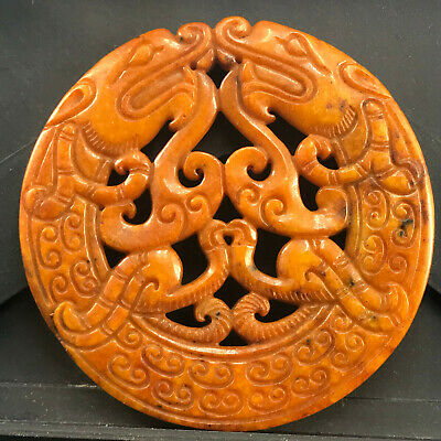 Chinese old natural jade hand-carved statue pendant      174
