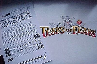"TEARS FOR FEARS - CLOSEST THING TO HEAVEN 2 x 12"" UK VINYL PR0M0 + PRESS SHEET !"