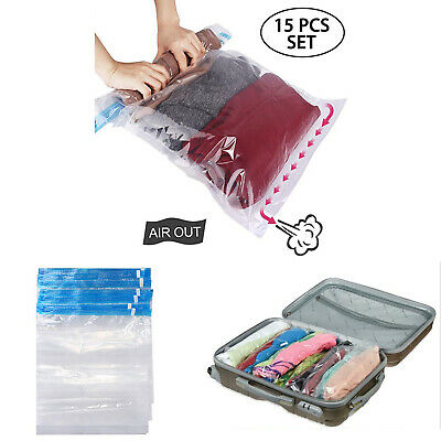 15 Pcs Organizer Reusable Space Saver Storage Bags Travel Roll Up No Vacuum Bag