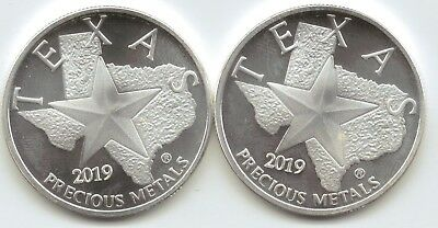 2-2019 Texas Metals Capitol reverse Style 1-Troy oz. Rounds.9999 Silver