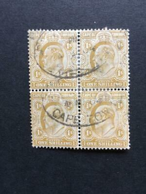 COGH Cape of Good Hope South Africa BE BC KEVII Block of 1/- One Shilling Yellow