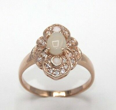Ring Opal & Cz Sterling Silver 925 Red Gold Plated Ø 17.2 Mm