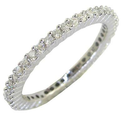 Pave Set 14K Solid White Gold Eternity Ring SI2 0.70 Ct Natural Diamond RS 7.50