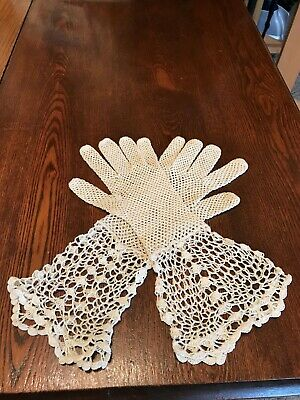 Vintage 1900's Crochet Mesh Driving/Evening Gloves SEXY
