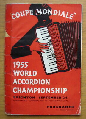 1955 World Accordion Championship at Brighton. 60 page programme
