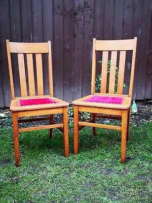 Pair Of Oak Arts and Crafts Style Chairs Made By Badger Chair Works Milwaukee