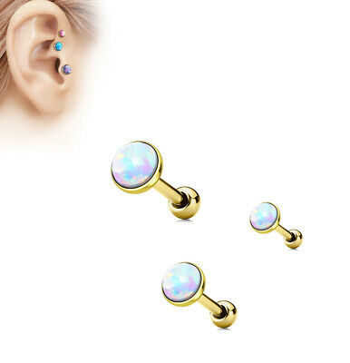 Opal Set Gold IP Surgical Steel Helix Tragus Cartilage Barbell Stud Earring 16G