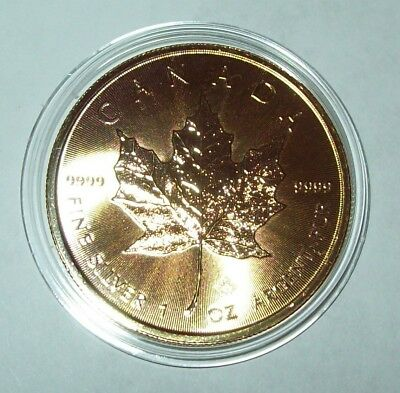 2019 24K Gold Gilded Canada Maple Leaf 1 Troy Oz. Silver $5 Five Dollar Coin