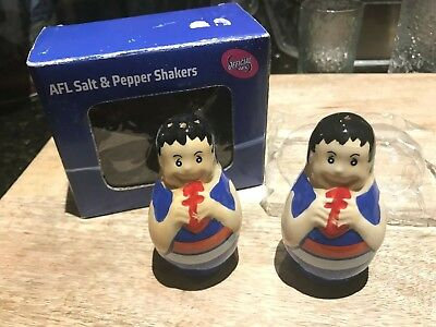 Western Bulldogs-AFL-Salt & Pepper Shakers-New in Box-Official-With Team Logos.