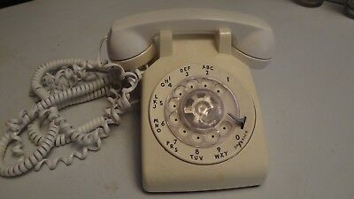 WHITE Western Electric ROTARY TELEPHONE AT&T Desk Phone VINTAGE