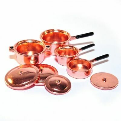 1/12 Streets Ahead Dolls House Pack 4 Copper Pots/Pans/Saucepans D330