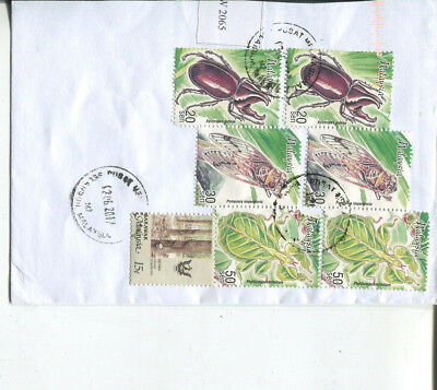 (XX 10) Malaysia stamps on part cover posted to Australia (7 stamps)