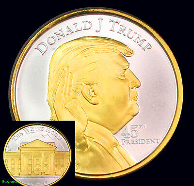 24K Gold Gilded 2017 President Donald J Trump 1oz Ounce Pure Silver Round