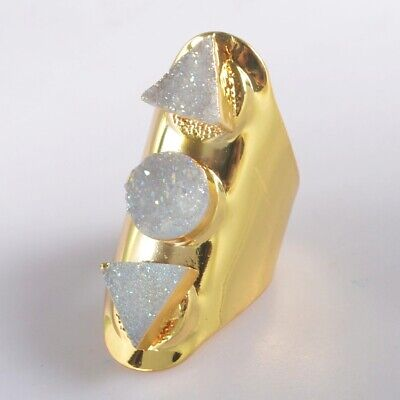 Scratched Size 6.5 Natural Agate Druzy Titanium AB Ring Gold Plated B078230