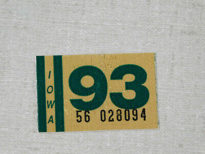 1993 Iowa passenger car license plate sticker