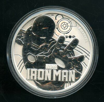 2018 Reverse Proof Iron Man Tuvalu 1 Dollar 1 Oz 9999 Fine Silver Round Qt179