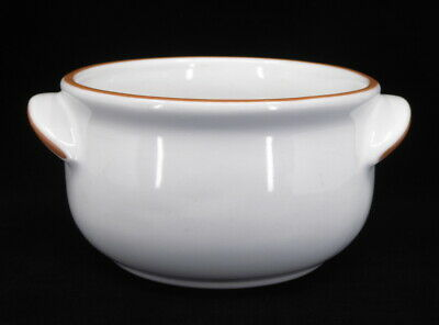 Frankoma Individual Chili Crock White Terra Cotta Trim USA Bowl Server 20 Ounce