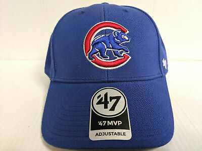 competitive price ebf02 8b961 Chicago Cubs 47 Brand Cap Hook   Loop Adjustable Throwback Blue MVP Hat MLB