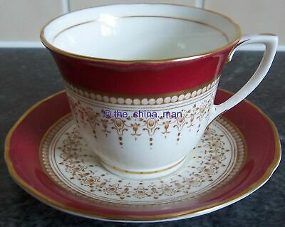 excellent ROYAL WORCESTER RED REGENCY porcelain COFFEE CUP DUO