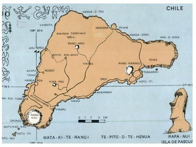 (PCF 2) Chile - Map or Rapa Nui - Easter Island (with australian stamp at back?)