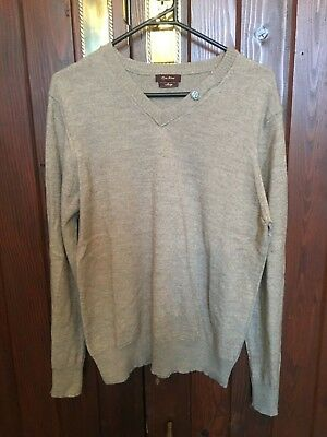 Beige Jumper V-Neck By River Island Size Large