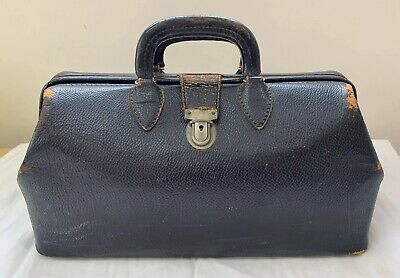 Vintage Kruse 1426 Black Cowhide Leather Doctor's Bag Homa Buckle Medicine Dr.