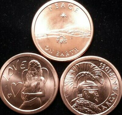 2013 Silver Shield 1 oz. Copper Round (3 Pack!) PEACE ON EARTH+LOVE+ARGYR....