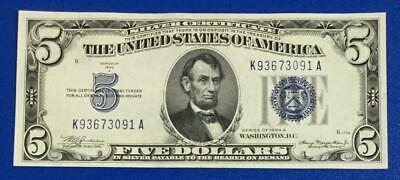 1934A $5 Blue SILVER Certificate Choice Crisp XF X091 Old US Paper Money!