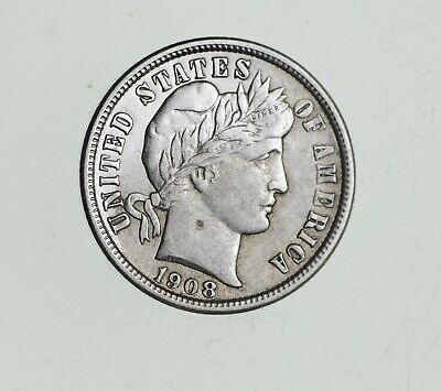 Higher Grade 1908-D Barber Liberty US Silver Dime - Great Detail in LIBERTY *472